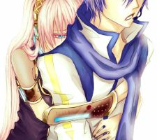 Those hugs from behind ~ Luka x Kaito by kittyscz