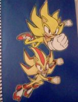 Super Sonic+ Super Shadow by Sky-The-Echidna