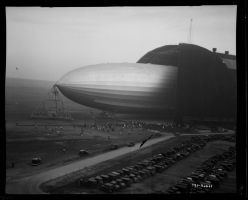 USS Akron out of the airship dock in Ohio, Akron by FCARVALLO