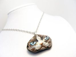 Grumpy Cat Pendant Necklace by sobeyondthis