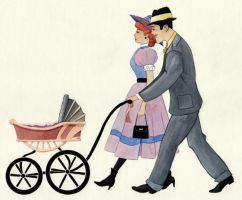 Couple with Baby Carriage by ColbyBluth