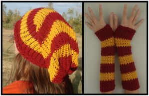 Commission - Gryffindor Beanie and Armwarmers Set by RebelATS
