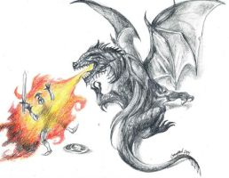 Dragon and the epic fail Knight Tattoo design by GoatQueen