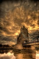tower bridge with firey sky by speedclicker666