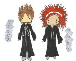 Demyx and Axel chibis by Unichi