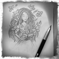 Butterfly book sketch by IvkaM