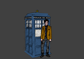 Tardis and eleven slightly cross hatched by l0cutu5