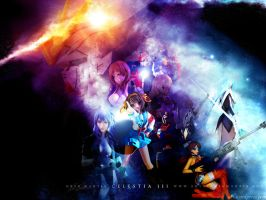 Gundam and figures in space by killer0178