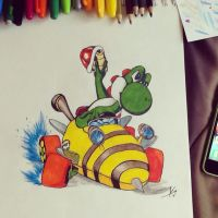 Yoshi in Bumble V kart by KimShadow