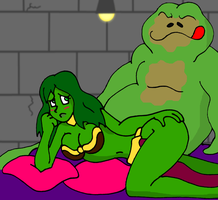 Jabba and She Hulk commission by PariahExileWrath