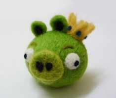 Needle Felted King Pig by Jadest