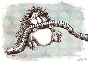 Hedgehog with snake snack by annARTism