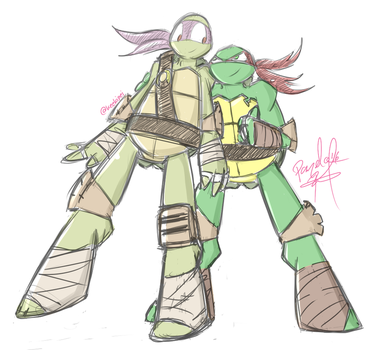 Donnie and Raph (Sketch) by penguinsfan90