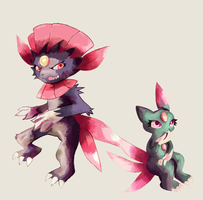 Slasher and Sneasel by LizardonEievui13
