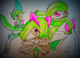 Kirlia, Gallade and Gardevoir - Pokemon by nath2897
