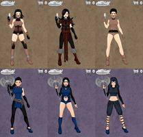All Sarah's and Lilly's outfits (video game avatar by Simony17y