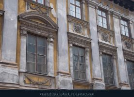 Facade of old building Row of windows by kuschelirmel-stock