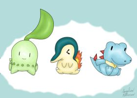 Pokemon starters Johto by ShadowSilverfan1997