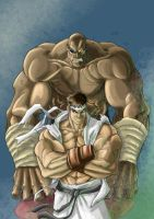 Sagat and Ryu color by Shamblin85