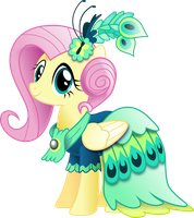 Fluttershy in Gala Dress (With Shading) by InfiniteWarlock