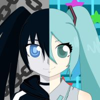 Black Rock Shooter and Miku by catgirl914