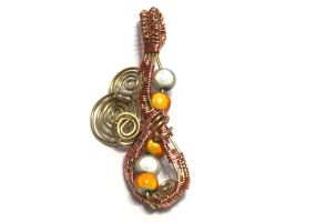 Copper and Gold Wire Wrapped Pendant by cakhost