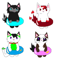 Innertube Kitty Adoptables by TurkFish