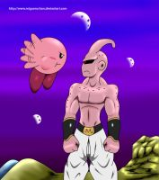 Kirby Vs Majin Buu (in color) by migueruchan