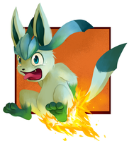 Glaceon's butt on fire :P by sifyro