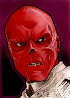 Red skull sketch card by Azima-el