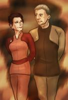 Odo and Kira by infiniteviking