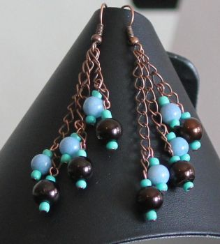 Brown and Green Earrings by Mommy-of-Monsters