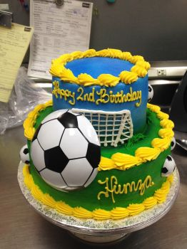 Soccer tier cake by AingelCakes
