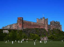 Cricket in front of Bamburgh Castle by charlottina