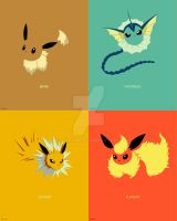 Minimalist Pokemon 133 to136 by Boydom