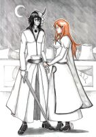 Bleach: Ulquiorra and Orihime by CrimsonStigmata2501