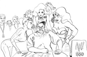 Adam Hughes and His Muses by artybel