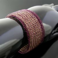 Violet and gold wire knit bracelet by CatsWire