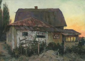 Dusk in Plotinnoe in the Crimea by DChernov