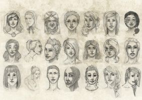 Female faces 01 . by Tpose