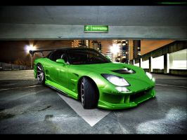 Mazda RX7 Green Monsta by blackdoggdesign