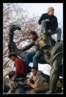 on the statue by graffit
