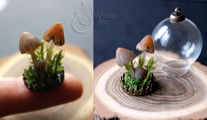 Mushrooms with moss by Wonder-fox