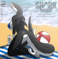 Shark Week beach shark gal by wsache007