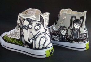 Handpainted Frankenweenie Hi Top Shoes by rachelliles352