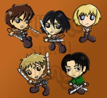 Attack on Titan chibis by Kasandra-Callalily