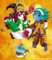 Rocketeer Tristana And Dragon Trainer Lulu wall by zelphie00