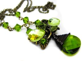 Green Crystal Necklace by pila12903