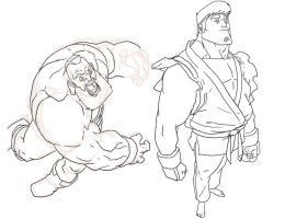 Zangief + Ryu sketches by HughFreeman