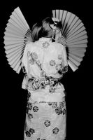 orihime kimono version black and white by kittychamallow